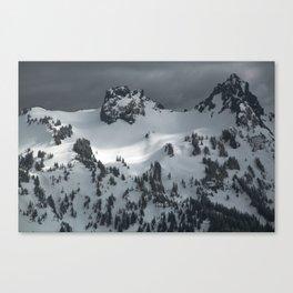 Snowy winter peak of mountains Canvas Print