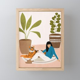 Girl and tiger Framed Mini Art Print