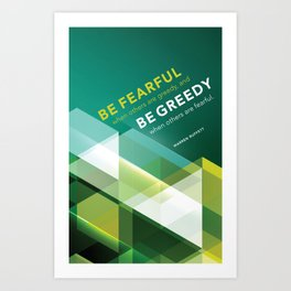 Buffett | Be Fearful When Others Are Greedy | Green Art Print