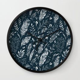 Feathers And Leaves Abstract Pattern Black And White Wall Clock