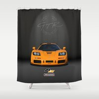 f1 Shower Curtains featuring 1995 McLaren F1 LM  by vsixdesign