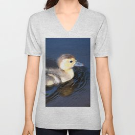 Cute Duckling Swimming in a Pond Unisex V-Neck