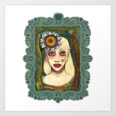 snakes and sunflower girl Art Print