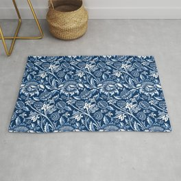 William Morris Sunflowers, Dark Blue and White Rug