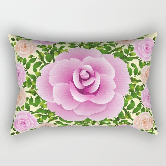 Pink Roses On Yellow Design Rectangular Pillow