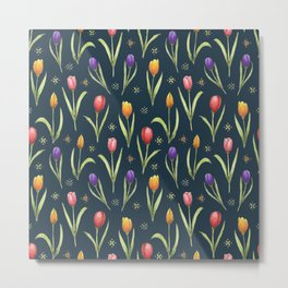 tulips on a rich navy background Metal Print