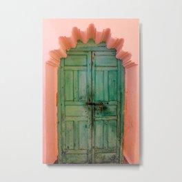 Exotic Green Door with Pink Marakkech Morocco Metal Print