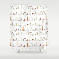 cocktail Shower Curtains featuring Cocktail time by Madeleine Groves