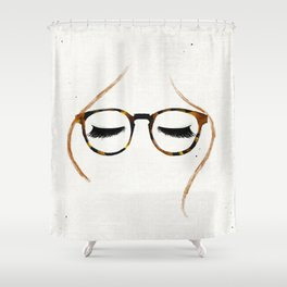 Tortoiseshell Glasses Red Shower Curtain