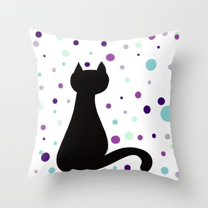 Black Cat Party! Throw Pillow