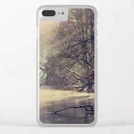 winter on the river Clear iPhone Case