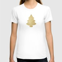 gold glitter T-shirts featuring Gold Glitter Christmas Tree by A Little Leafy