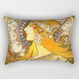 La Plume Zodiac - Alphonse Mucha Rectangular Pillow