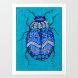 Beetle Bug Art - Insect Charcoal Acrylic Painting Art Print