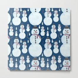 Cute Frosty Blue Snowman Watercolor Pattern Metal Print
