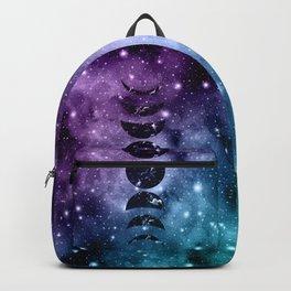 Purple Teal Galaxy Nebula Dream Moon Phases #1 #decor #art #society6 Backpack
