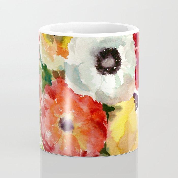 Flowers, Buttercups, orange red white yellow garden floral design Coffee Mug