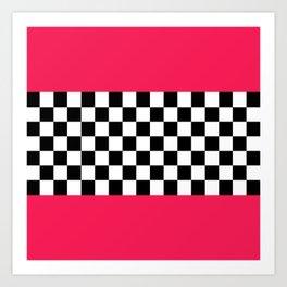 Checkerboard plus pink Art Print