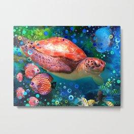 Sea Turtle In Blue Water Metal Print