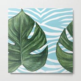 Tropical Watercolor Swiss Cheese Leaf and Zebra Metal Print