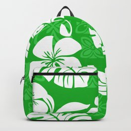 Bright Green & White Hibiscus Aloha Hawaiian Flower Blooms and Tropical Banana Leaves Pattern Backpack
