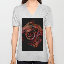 Fluid Nature - Marbled Red Rose Unisex V-Neck