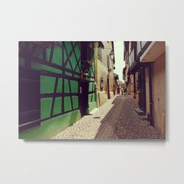 Alsatian street | Stone Pavement Alley | France Photography Metal Print