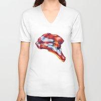 evangelion V-neck T-shirts featuring Evangelion EVA-02 by Etienne Chaize