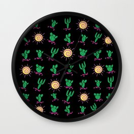 Sunny Cacti on Black Background Wall Clock