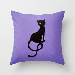 Gracious Evil Black Cat Throw Pillow