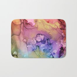 Colorful Abstract Ink Swirls with Gold Marble Bath Mat