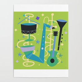 Midcentury Modern Fifties Jazz Composition Poster