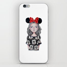 Minnie Mouse Inspired Style Girl Drawing iPhone Skin