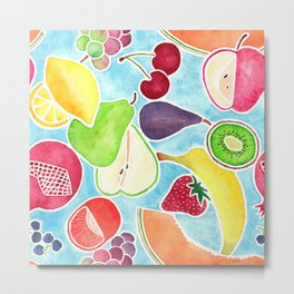 Fruit Salad in Watercolors on Bright Blue Background Metal Print