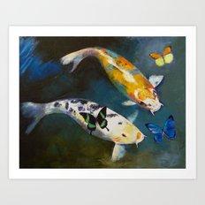 Koi Fish and Butterflies Art Print