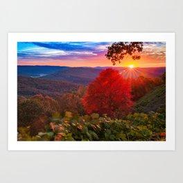 Colorful Autumn Sunrise at Artist Point - Arkansas Boston Mountains Art Print