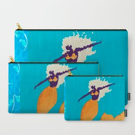 Retro Mermaid Tile Print Carry-All Pouch