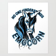 Nobody Understands Emocorn Art Print