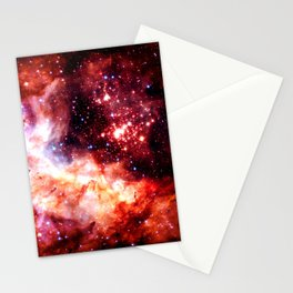 Celestial Fireworks Red Orange Stationery Cards
