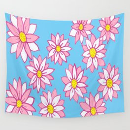 Pink and White Flowers on Blue Wall Tapestry