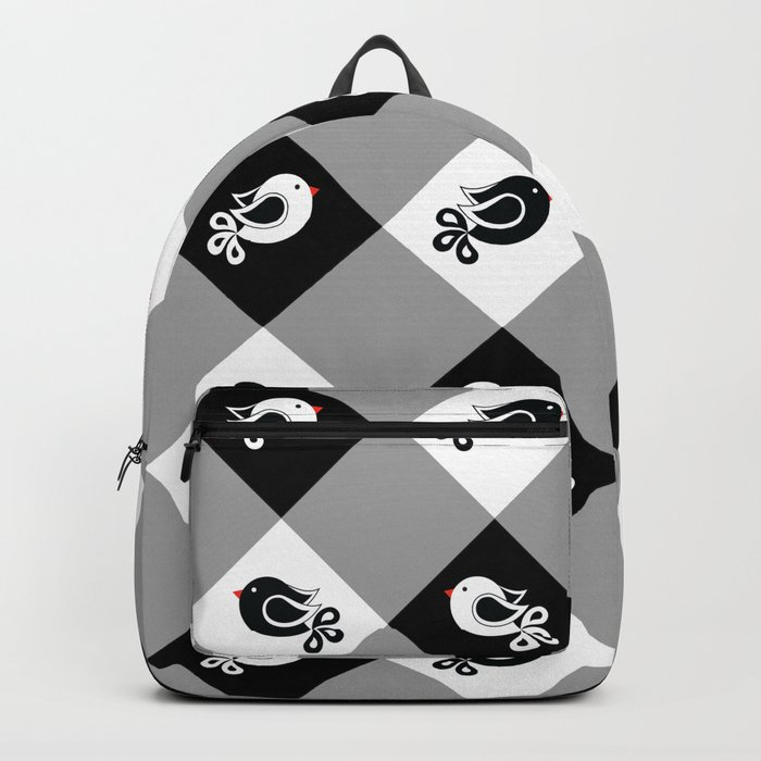 black and white birds 1 Backpack