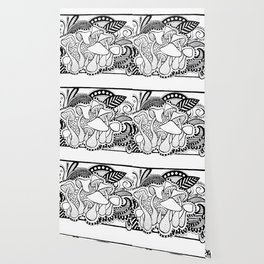 Mushrooms outline black and white drawing Wallpaper