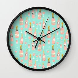 Rose champagne wine food fight apparel and gifts Wall Clock