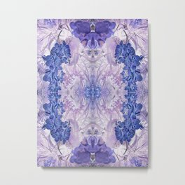 Blue Orchid Floral Mirrored Pattern. Metal Print