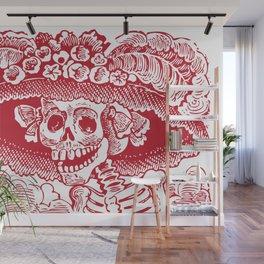 Calavera Catrina   Red and White Wall Mural
