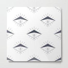 Modern Gray White Diamond Eyes Pattern Metal Print