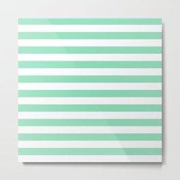 Stripes (Mint & White Pattern) Metal Print