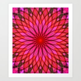 Pink,red and fuchsia color mandala Art Print
