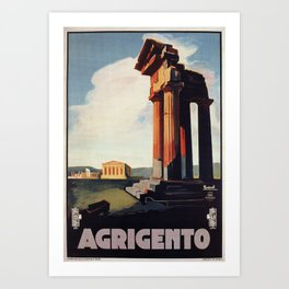 Vintage 1920s Agrigento Italian travel ad Art Print