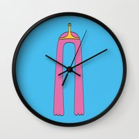princess bubblegum Wall Clocks featuring Princess Bubblegum by SBTee's
